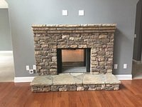 Stacked Stone Fireplace/ Living Room